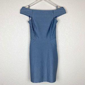 Topshop Blue Off the Shoulder Bandage Mini Dress 2